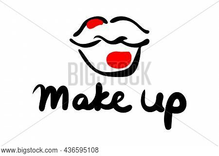 Graffiti Lips In The Form Of A Kiss With Strokes Of Red Lipstick And The Inscription Make Up. Vector