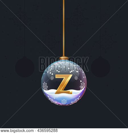 Christmas Toy Ball With A Golden 3d Letter Z Inside. New Year Tree Decoration. Element For Design Ba