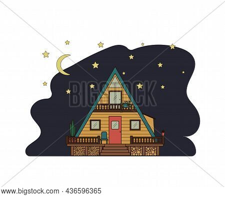 Wooden Cabin On Stilts Against The Background Of The Night Sky And Stars. Cozy Hut With A Veranda An