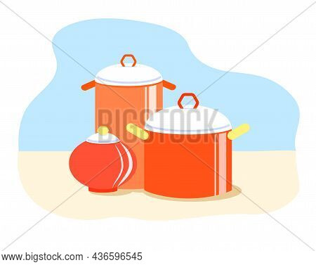 Cute Red Stockpots With White Lids. Cartoon Kitchen Utensils On A Light Background.