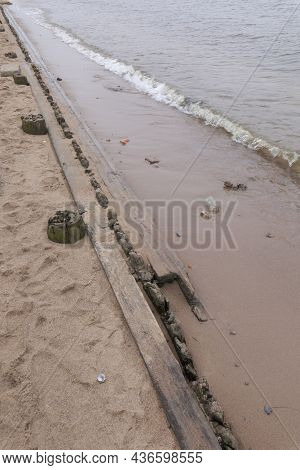 Remains Of Wooden Fortifications On The Beach Of The Peter And Paul Fortress. Saint-petersburg, Russ