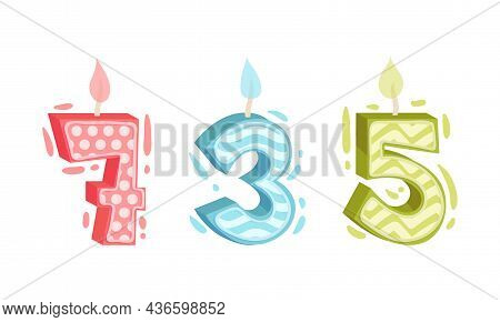 Seven, Five, Three Birthday Candles Set. Anniversary Party Candle Cartoon Vector Illustratio