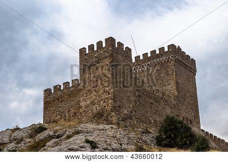 The Genoa fortress - sight on peninsula Crimea. Sudak Crimea Ukraine poster