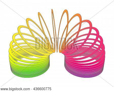 Kosice, Slovakia - October 5th 2021: Slinky - Rainbow Plastic Precompressed Helical Spring Toy Inven
