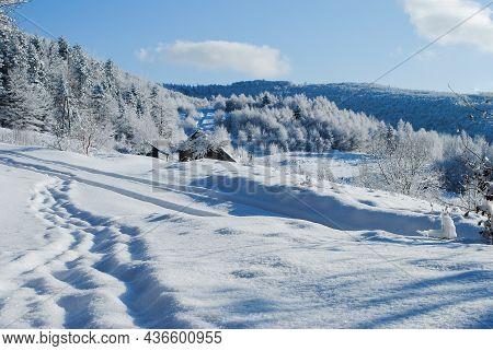 Winter Mountain Landscape On A Sunny Day With Blue Sky, Beskids, Poland