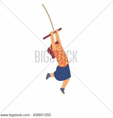 Cute Little Girl In Skirt Swinging, Jumping Bungee In Flat Vector Illustration