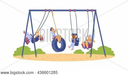 Several Happy Kids Swinging On Swing, Bungee In Park At Playground In Flat