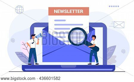 Subscribe Now To Our Newsletter Vector Illustration With Tiny People Working With Envelope And Newsl