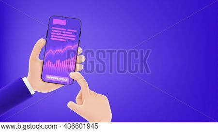 Template Of Banner With Concept Of Online Investment App. Cartoon Hands Hold Smartphone With Growing