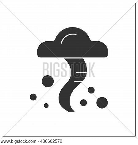 Tornado Glyph Icon. Heavy Wind. Typhoon. Spiral Storm. Windstorm And Hurricane.natural Disaster. Wea