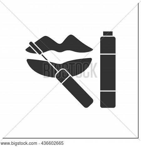 Lip Gloss Glyph Icon. Special Shining Lipstick. Lip Care.makeup Concept. Filled Flat Sign. Isolated