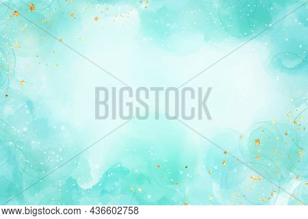 Pastel Cyan Mint Liquid Marble Watercolor Background With Gold Glitter Brush Stains. Teal Turquoise