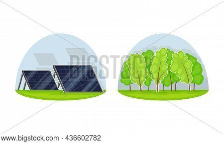 Solar Panels For Sun Energy Generation, Green Renewable Energy Concept Vector Illustration