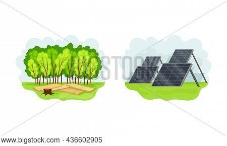 Solar Panels For Sun Energy Generation, Alternative Eco Green Renewable Energy Concept Vector Illust