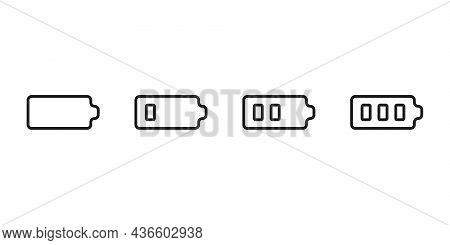 Set Level Energy Battery From Low In Full, Line Icon. Power Battery With Energy. Vector Sign