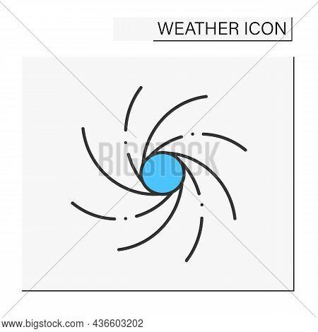Hurricane Color Icon. Heavy Spiralled Wind. Meteorology. Typhoon, Windstorm. Tornado Natural Disaste
