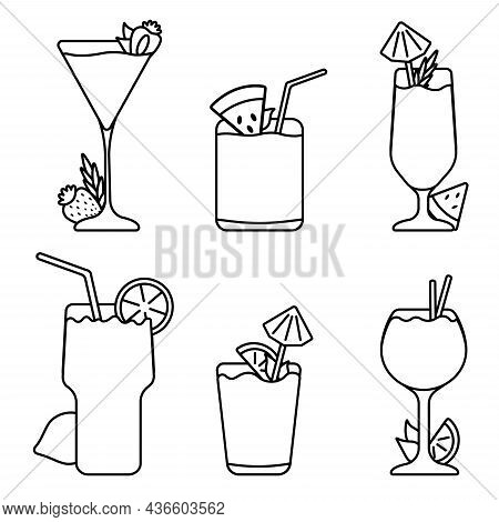 Set Of Refreshing Mixed Alcoholic Cocktails. Isolated Illustrations For Bar Menu.outline Style. Icon