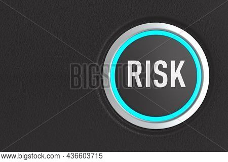 push button with text risk on dark background. 3D illustration