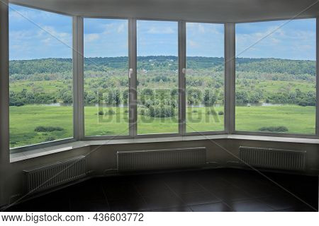 Plastic Window With View To Summer Landscape With Forest And Lake. Fresh Air