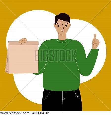 Delivery Of Goods Concept. Courier With A Box In One Hand And The Other Hand Shows The Gesture Ok. V