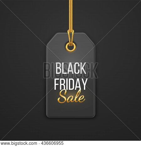 Black Friday Sale Price Tag. Black Tag Hanging On Gold Rope. Discount Label On Black Background. Bla