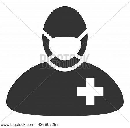 Surgeon Doctor Vector Illustration. A Flat Illustration Design Of Surgeon Doctor Icon On A White Bac