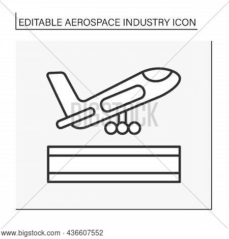 Airplane Launch Line Icon. Plane Take Up In The Sky. Aerospace Industry Concept. Isolated Vector Ill
