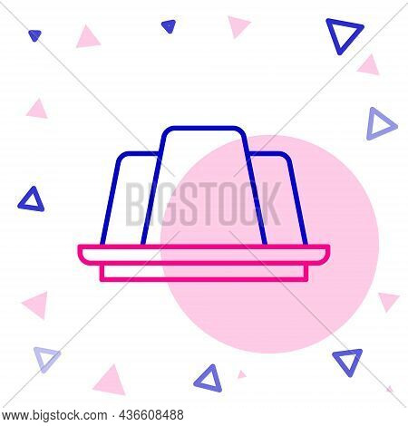 Line Jelly Cake Icon Isolated On White Background. Jelly Pudding. Colorful Outline Concept. Vector
