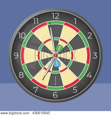 Time Is The Goal. Darts Style Decorative Wall Clock. Vector Illustration. Isolated Monochromatic Bac