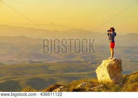 Tourist Woman With Camera Taking Travel Photo From Coastal Spanish Landscape, Mesa Roldan Location I