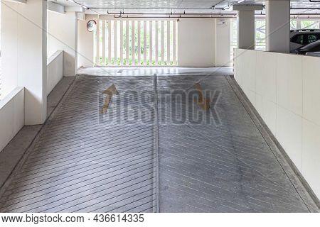 Empty Concrete Passageway Inside The Car Park Building At The Office Building