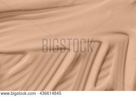Beige Nude Liquid Foundation Texture, Concealer Smear Smudge Drop. Make Up Base, Cream Textured Back