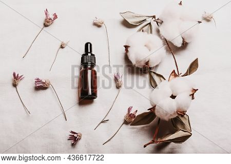 Abstract Cosmetic Laboratory. Bottles Of Dark Amber Glass On A White Background Organic Flax. Natura