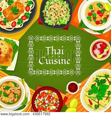 Thai Cuisine Vector Mushroom Soup Tom Klong Hed Ruam, Chicken Soup Tom Kha Gai And Fried Rice With S