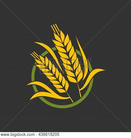 Cereal Ear Spike, Wheat Or Barley And Rice Millet Stalk Vector Bakery Icon. Bread And Grain Food Sig