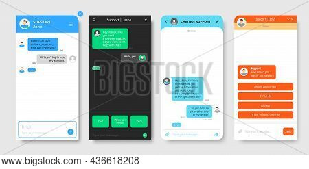 Support Chat Window, Chatbot Or Bot Messenger App Interface Vector Template. Customer Support And On