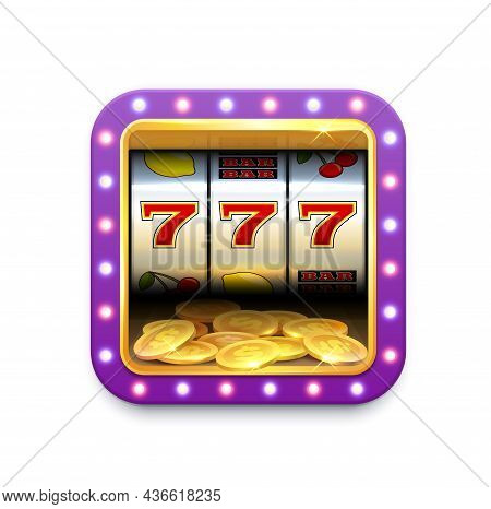 Casino Slot Machine Roulette Vector Icon, Online Game, Jackpot And Gamble Play App. Casino And Lucky
