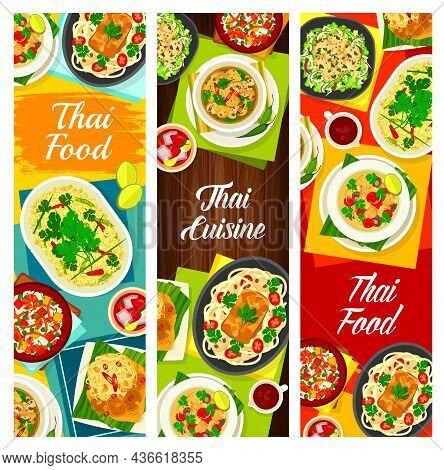 Thai Cuisine Vector Mushroom Soup Tom Klong Hed Ruam, Chicken Soup Tom Kha Gai And Lemongrass Tea. F