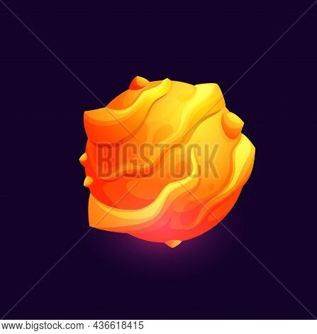 Galaxy Space Planet With Lava Surface, Fantasy Galactic And Universe Vector Icon. Fantastic Extrater
