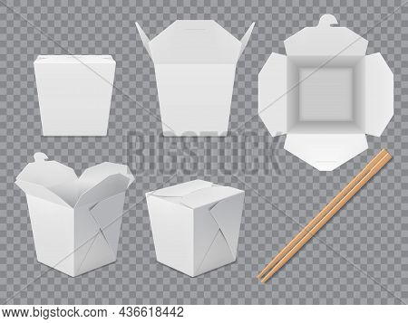 Asian Noodle Box Package Mockup. Isolated Paper Chinese Takeaway Food Box Set. White Wok Packaging W