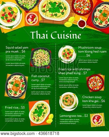 Thai Cuisine Vector Menu Template Mushroom Soup Tom Klong Hed Ruam, Chicken Soup Tom Kha Gai, And Le