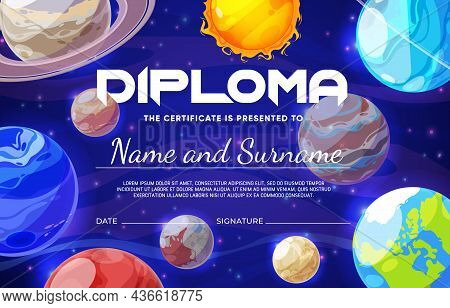 Kids Diploma With Cartoon Galaxy Space Nebula And Planets. Education Certificate For Kids, Child Kin