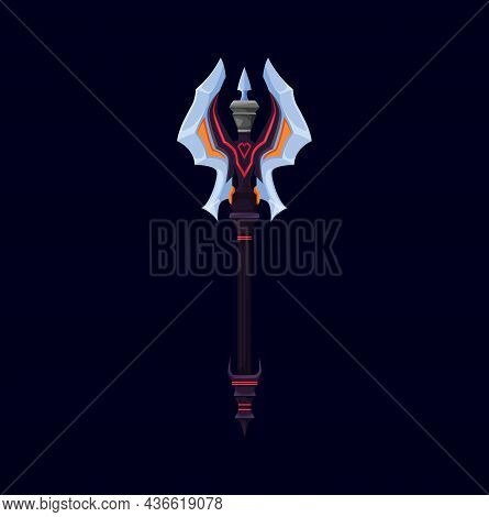 Scandinavian Nordic Battle Axe And Skyrim, Battleaxe Weapon. Cartoon Vector Double Blade Fantasy Vik