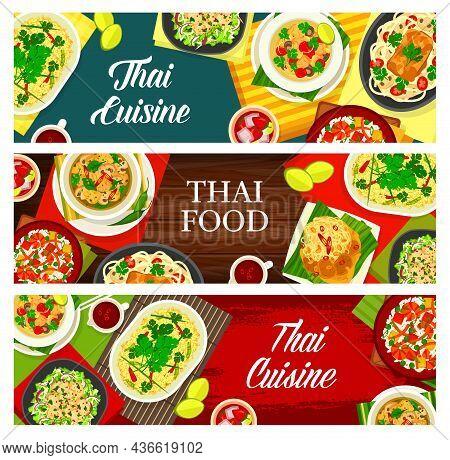 Thai Cuisine Vector Squid Salad Yam Pra Muek, Lemongrass Tea, Fried Rice With Shrimps Khao Phad Kung