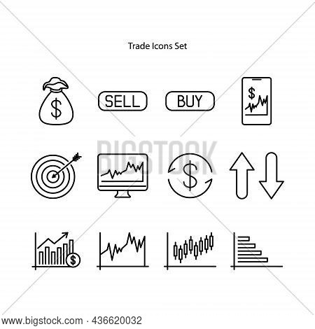 Trade Icons Set Isolated On White Background. Trade Icon Trendy And Modern Trade Symbol For Logo, We