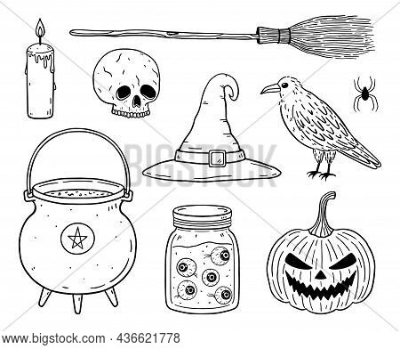 Doodle Set Of Halloween Elements - Skull, Raven, Witch's Cauldron, Broom And Hat, Creepy Pumpkin Lan