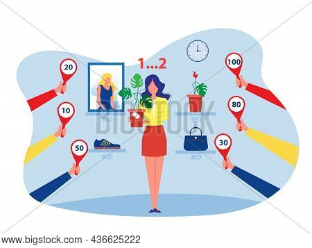 Woman Selling Offer Bid Or Auction Business Concept,  Vector Illustration.