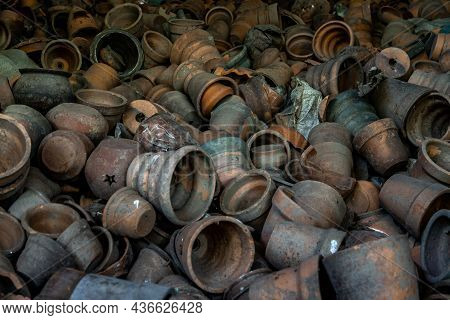 Clay Pottery In Ancient Furnace, Pottery Textured Background, Thailand.
