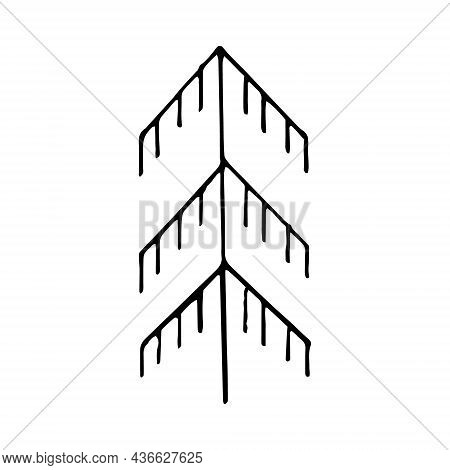 Spruce, Christmas Tree Hand Drawn Doodle. Vector, Scandinavian, Nordic, Minimalism Monochrome Icon S