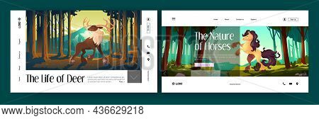 Wild Deer And Horse In Forest Cartoon Landing Pages. Beautiful Animals Stag And Equine On Nature Bac